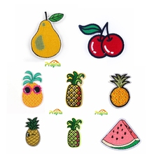 Pulaqi Lovely Cartoon Fruit Patch Iron On Embroidery Patches For Kids Clothing Stripe Applique Sticker Accessories DIY F