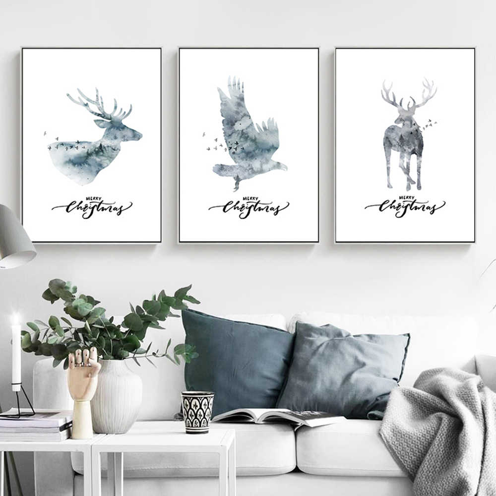 Nordic Elk Eagle Painted Photo Canvas Painting Wall Picture Bedroom Decor Living Room Decorativas Pared Cuadros