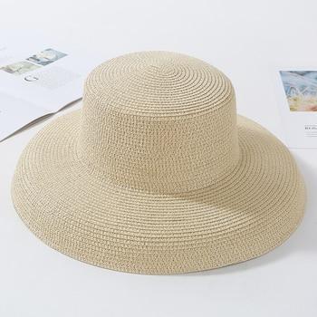 HT2303 New Summer Sun Hats Ladies Solid Plain Elegant Wide Brim Hat Female Round Top Panama Floppy Straw Beach Hat Women 16