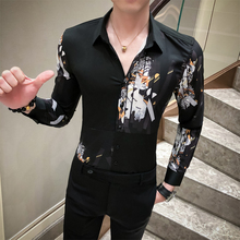 Britse Stijl Mannen Shirt Casual Mode Gesplitst Ontwerp Digital Print Luxe Shirts Voor Mannen Lange Mouwen Slim Fit Blouse Mannen 3XL M
