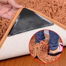4 pçs casa piso tapete esteira pinças auto-adesivo anti deslizamento tri adesivo reutilizável lavável silicone aderência adesivo almofadas