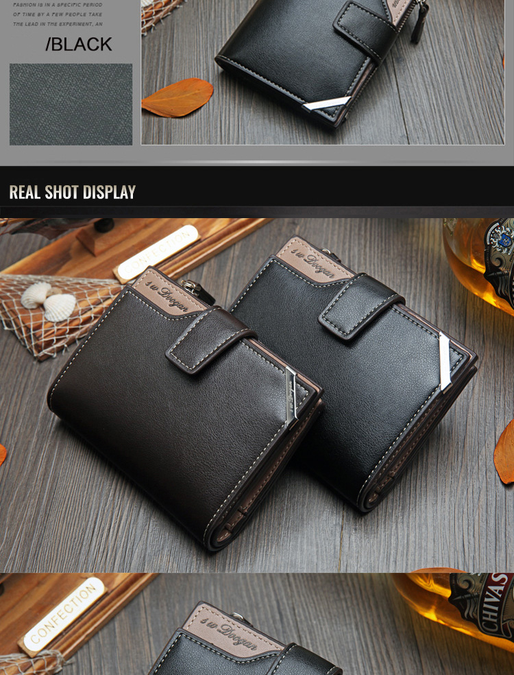 H4a668ab8a4d04ba1a1c57d0426f8c147Q - New Korean casual men's wallet Short vertical locomotive British casual multi-function card bag zipper buckle triangle folding