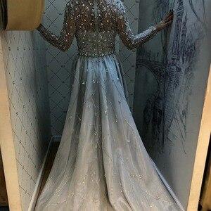 Image 2 - Yeni varış gümüş abiye zarif V boyun uzun kollu tül kristal boncuklar resmi elbise parti kadın gece elbisesi Mermaid