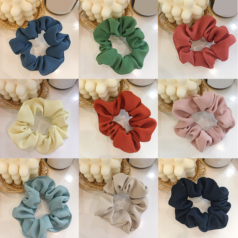 Women Large Size Pure Color Scrunchies Elastic Rubber Band Ponytail Holder Hair Bands Hair Ropes Ties For Girls Hair Accessories