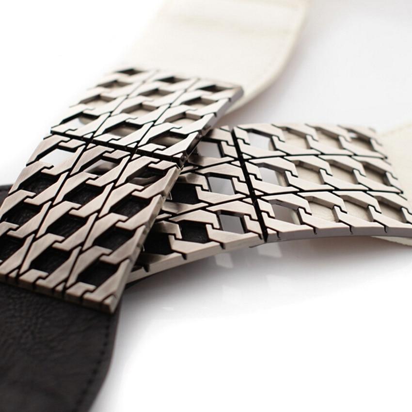 Fashion Women's Elastic Waist Belt Vintage Stretch Waistband Cinch High Waist Cummerbunds Black White Color