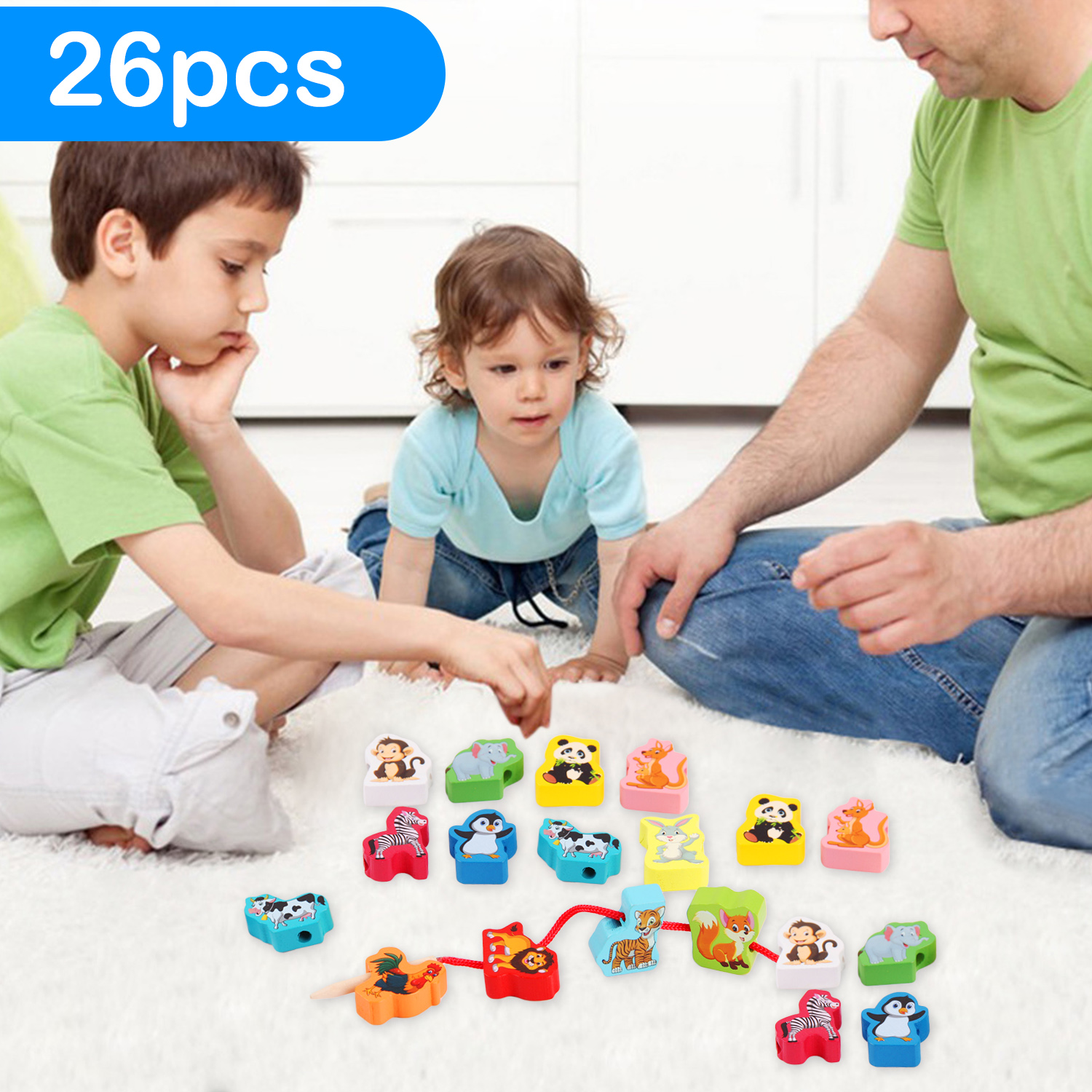 Kids 26pcs Montessori DIY Colored Wooden Cartoon Animals Shaped String Threading Lacing Beads Beading Game Jewelry Making Toys