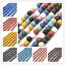 Wholesale Natural Lava Loose Beads,4mm 6mm 8mm 10mm 12mm 14mm 16mm Volcanic Rock Lava Round Beads.DIY Jewelry Making Beads(China)