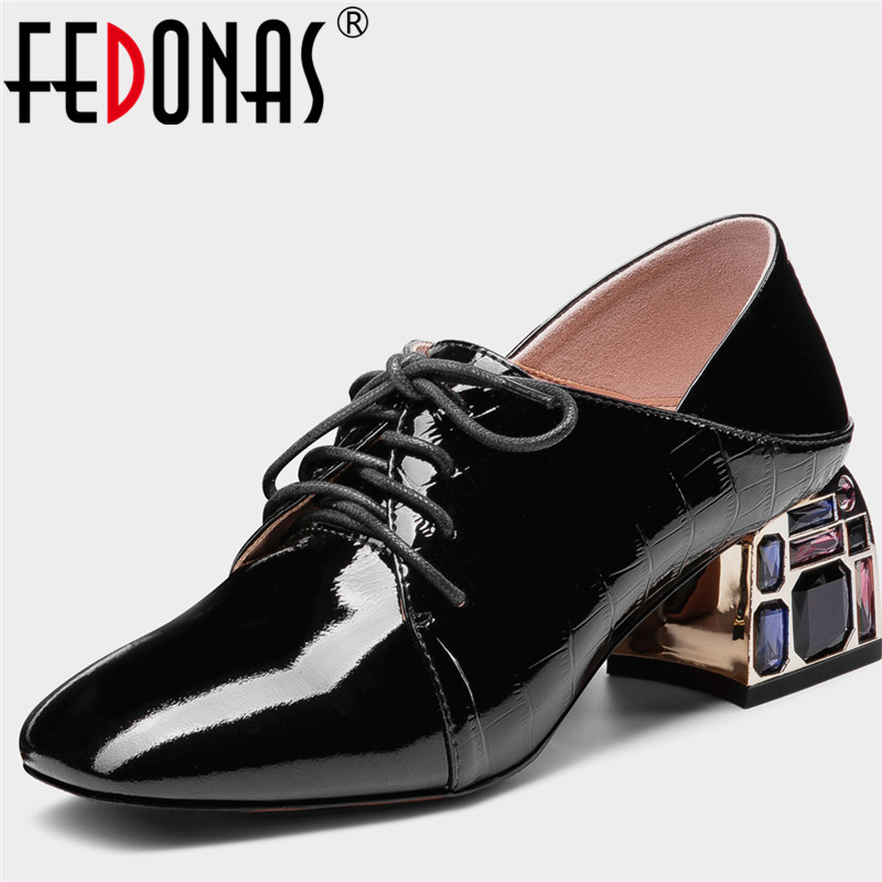 FEDONAS Women Pumps Cow Leather Prom Pumps Spring Summer Rhinestone Crystal Lace Up Square Toe Fashion Sexy Shoes Woman