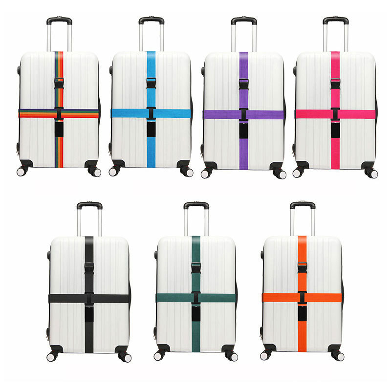 Luggage Strap Cross Belt Packing Adjustable Travel Accessories Travel Suitcase Nylon Strap Belt Tag