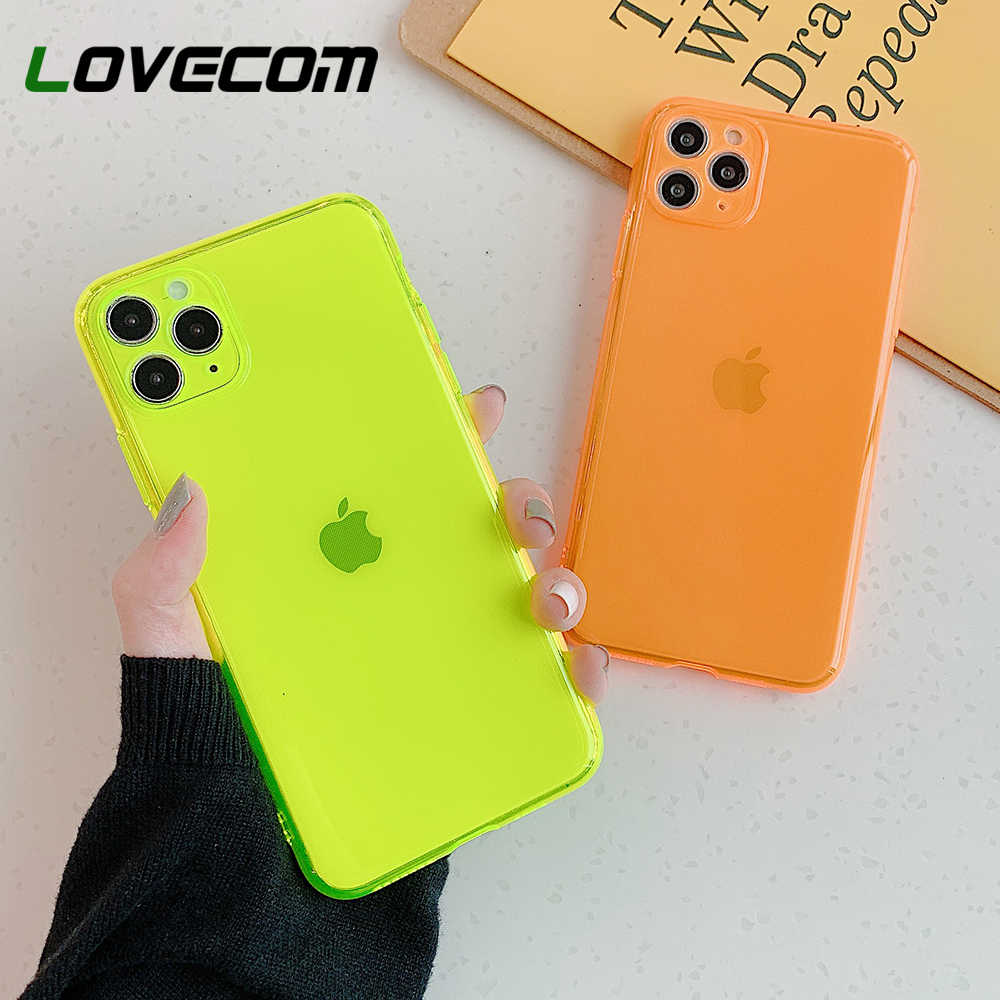 Lovecom Fluorescerende Camera Telefoon Bescherming Case Voor Iphone 11 Pro Max Xr Xs Max 7 8 Plus Transparante Case Soft tpu Telefoon Cover