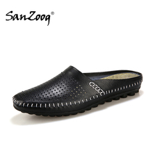 Sanzoog Summer Slip On Breathable Leather Half Shoes For Men Casual Slip ons Fashion Low Dropshipping Suppliers Black Blue