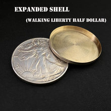 1 adet genişletilmiş kabuk Walking Liberty yarım dolar (kafa) sihirli hileler sikke görünür/Vanish Magia aksesuarı yakın çekim yanılsama hile