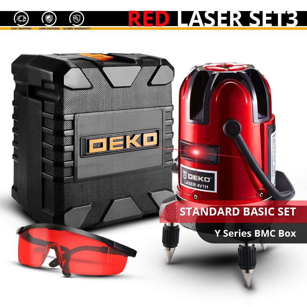 DEKO 5 линий 6 очков лазерный уровень автоматическое самонивелирование 360 вертикальные и горизонтальные наклона Открытый режим можно использовать w/приемник - Цвет: LL58-SET1