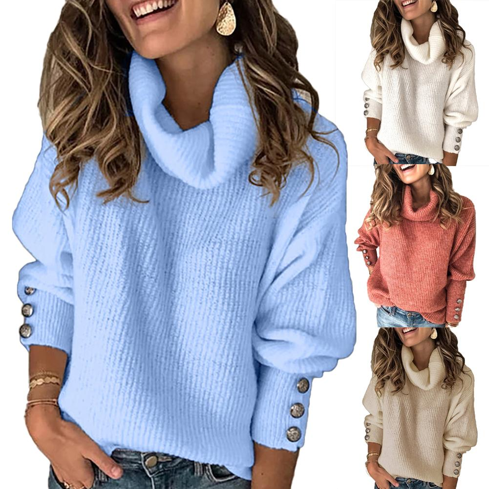 11.11 Trendy Women Autumn Winter Soft Comfort Solid Color Warm Turtle Neck Buttons Cuff Warm Pullover Sweater Christmas Gift