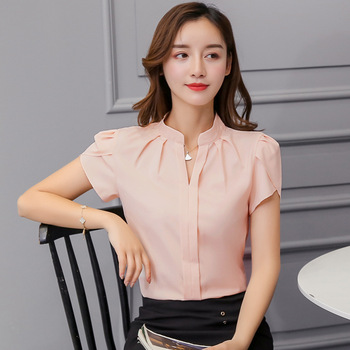 Summer Korean Fashion Womens Tops and Blouses Chiffon Women Blouses Short Sleeve White Office Lady Shirts Ladies Tops