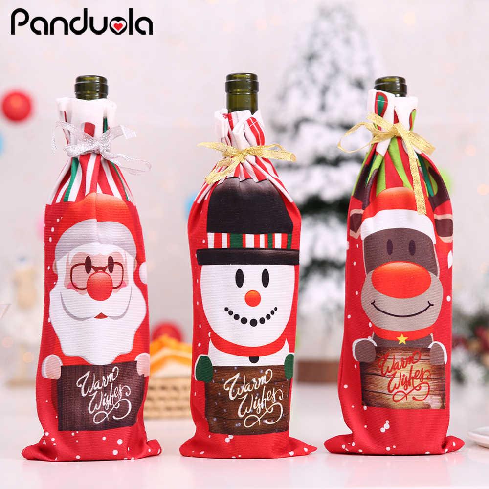 2020 1PC Natal Dekorasi untuk Rumah Xmas Tas Botol Anggur Penutup Santa Claus Rusa Botol Pakaian Dekorasi Dapur tahun Baru