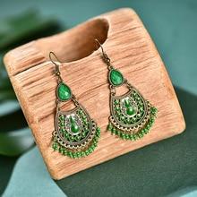 Ethnic Retro Green Beads Tassel Dangle Earrings For Women 2020 Gypsy Jhumka Indian Earrings Fashion Jewelry