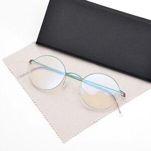 Image 2 - Denmark Eyewear Brand Pure Hand Made Vintage Oval glasses frame eyeglasses myopia reading glasses men and women Original Case