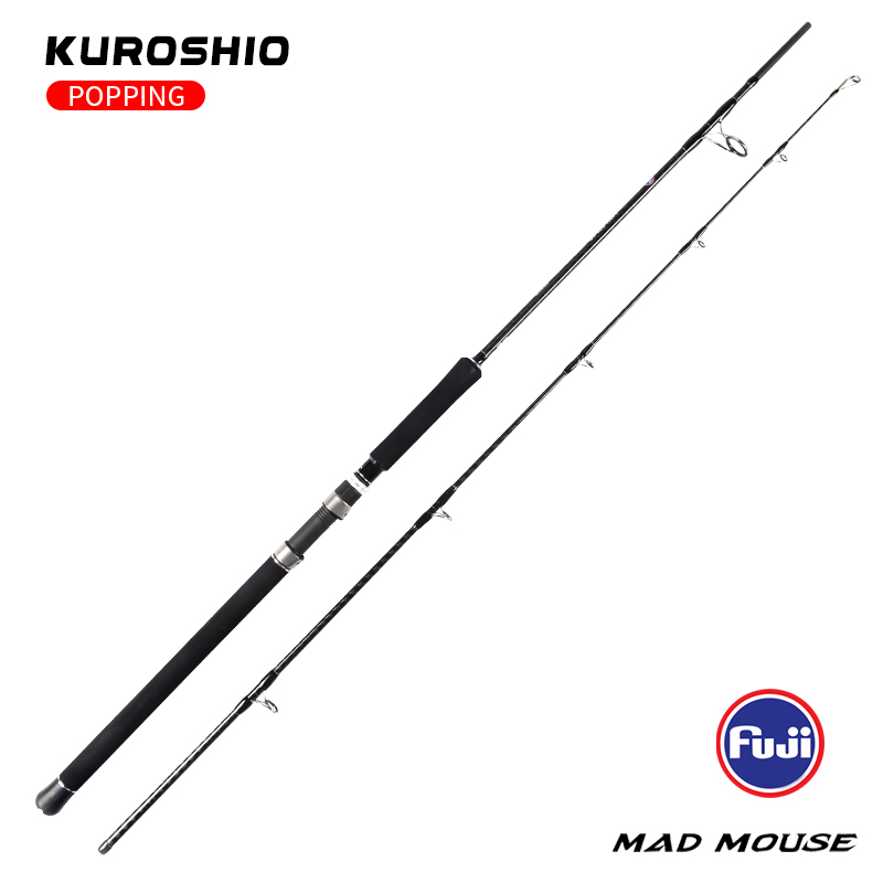MADMOUSE Kuroshio FUJI Parts Carbon Fiber Spinning Fishing Popping Rod with 2.64m 2.4m PE 3-10 80H/88XH Ocean Rod For GT Fishing 6