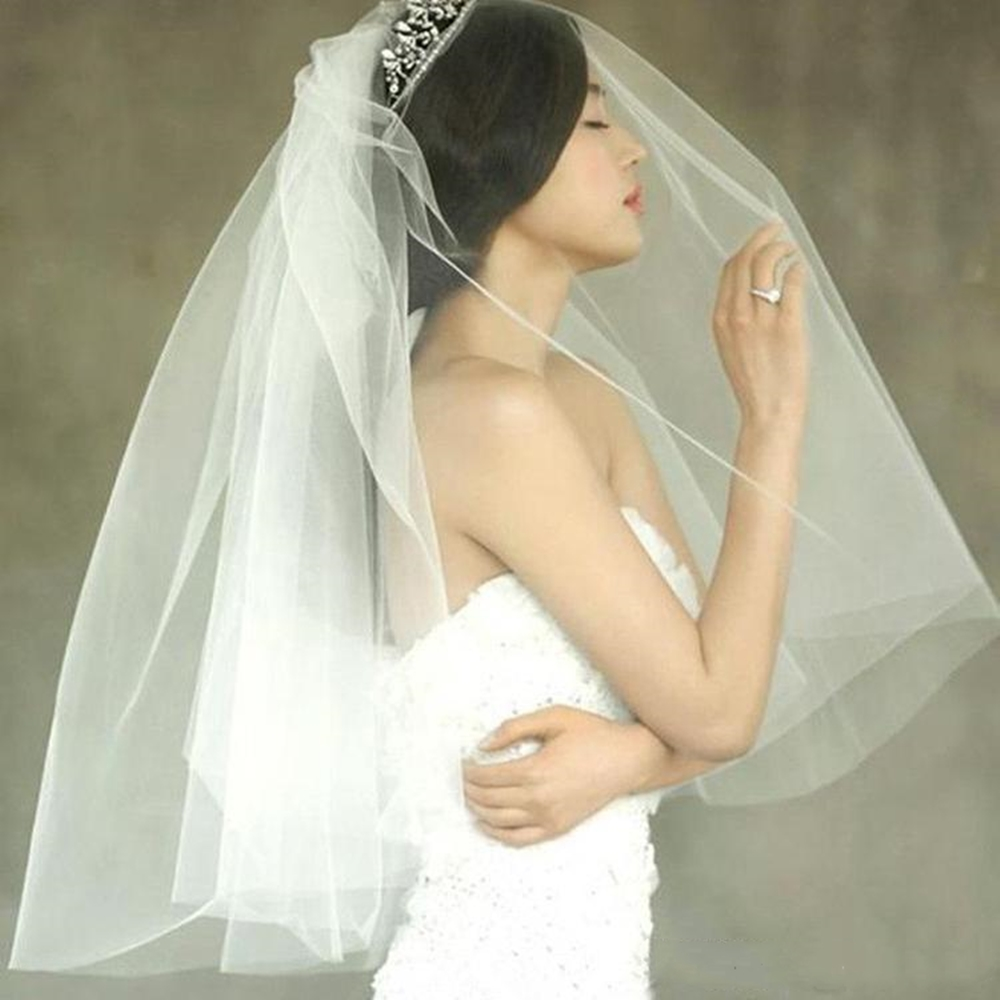 Cheap Wedding Veils 2020 Tulle White Ivory Short Elbow Length Bridal Veil With Comb Hot Sale
