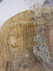 Image 4 - BGW HT42826 الذهبي الدانتيل فستان الزفاف مع طرحة زفاف الخامس الرقبة الكريستال شرابة الأميرة فساتين زفاف لفتاة Vestidos دي نوفيا