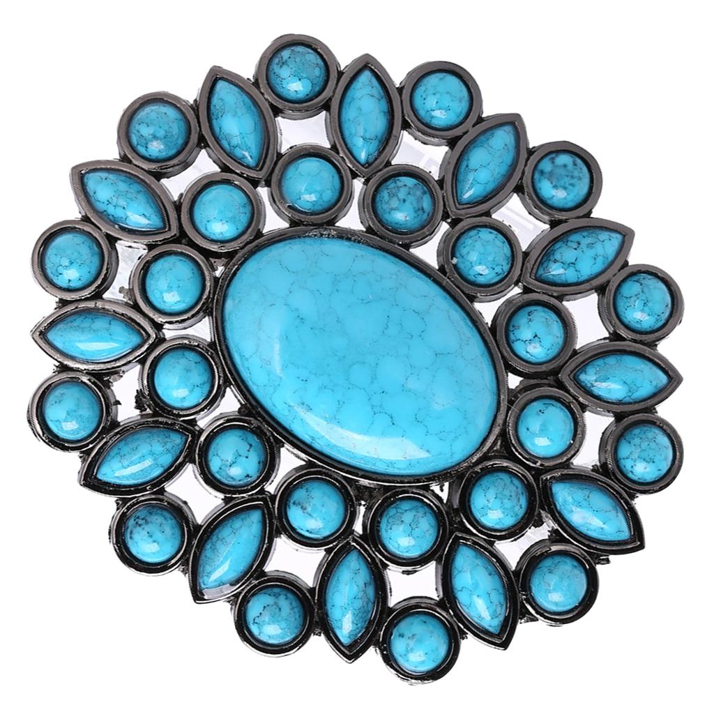 Vintage Blue Turquoise Beads Waist Belt Buckle Western Cowboy Cowgirl Indian Men Women Hebilla Cinturon