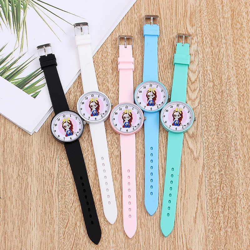 2020 新ホットプリンセスガール柄子供腕時計ファッションソフトシリコーンストラップクォーツ腕時計カジュアル女の子キッズ時計リロイ