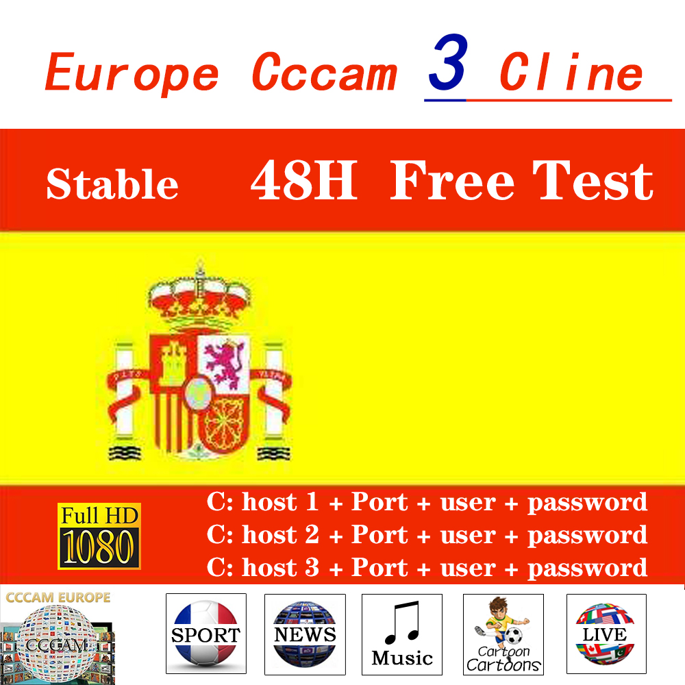 1/2 Year Spain CCCAM 3/6 Lines Oscam CCCAM For Europe Germany Portugal Poland Best Stable Cccam For TV Satellite Receiver DVB-S2