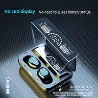 TWS Drahtlose Bluetooth 5,1 Kopfhörer Stereo Surround Bass Ohrhörer Wasserdichte Sport Headset Mit LED Display Lade Box