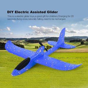 Diy elétrica assistida planador espuma alimentado avião voador recarregável elétrico modelo de aeronaves brinquedos educativos para crianças