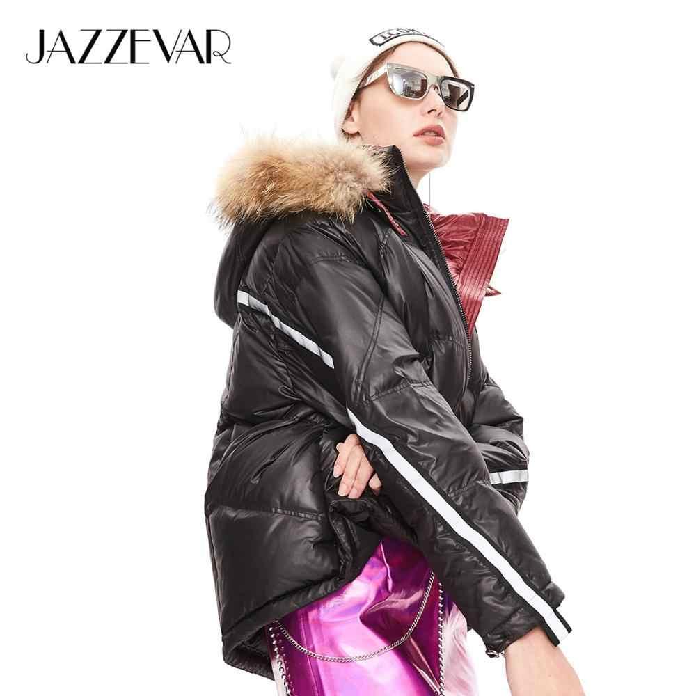 Jazzevar 2019 inverno nova chegada para baixo jaqueta feminina com gola de pele alta qualidade moda estilo com um capuz casaco de inverno feminino k