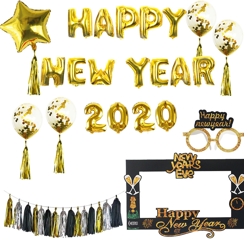 Cyuan 2020 New Year Party Decor Happy New Year Photo Booth Props Paper Photo Frame Props New Year Eve 2020 Number Balloons Decor
