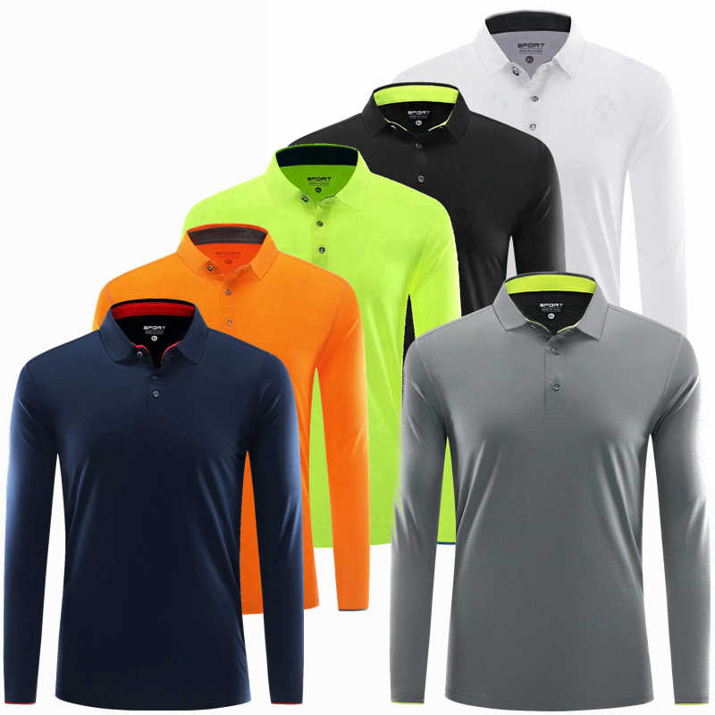 Lange Mouwen Sport Polo Shirt Mannen Fitness t-shirt Gym Tshirt Sportkleding Droge Fit Running Snel droog tennis golf Shirt workout Top