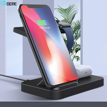 3 in 1 Wireless Charger Stand for Apple Watch 6 5 4 3 Airpods Pro iPhone XR XS 8 11 12 Samsung S20 S10 Buds QI 15W Fast Charging