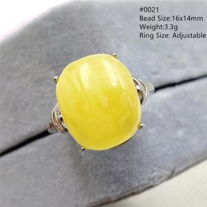 Image 2 - Natural Yellow Amber Adjustable Ring Gemstone Stone For Woman Man Wedding Engagement 925 Sterling Silver AAAAA