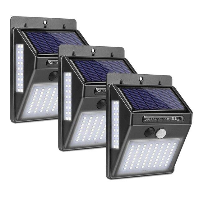 الطاقة الشمسية مصباح حديقة 100 LED تعمل بالطاقة الشمسية PIR محس حركة مصباح مقاوم للماء في الهواء الطلق إضاءة للتزيين أضواء لاسلكية الجدار مصباح