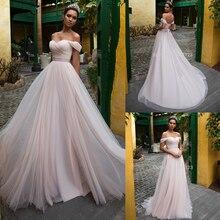 ピンクチュール袖 2020 オフショルダーの恋人レースアップ床の長さのウェディングブライダルドレス vestido デ noiva