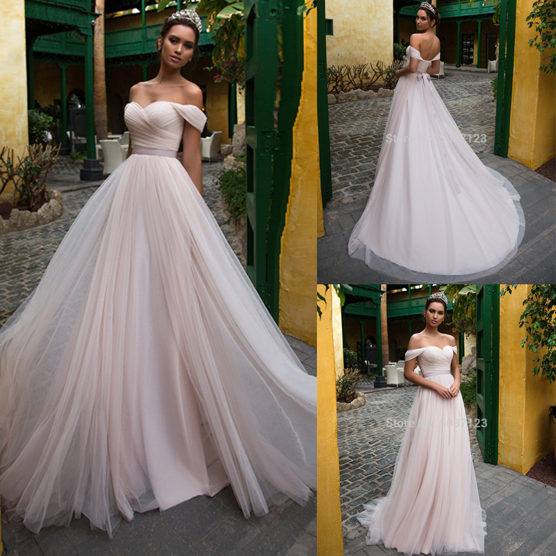 Pink Tulle Wedding Dresses 2020 Off The Shoulder Sweetheart Sleeveless Lace Up Sweep Train Wedding Bridal Gowns Vestido De Noiva