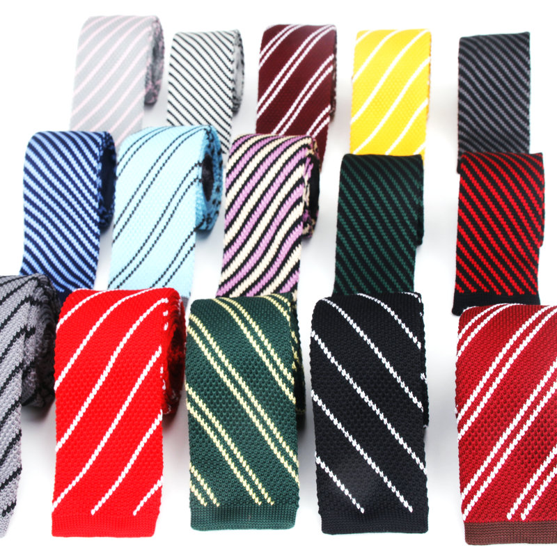 Mens Plaid Knit Ties New Casual Skinny Knit Neckties For Wedding Evening Party Gravata Slim Tie For Man Knitted Neck Tie