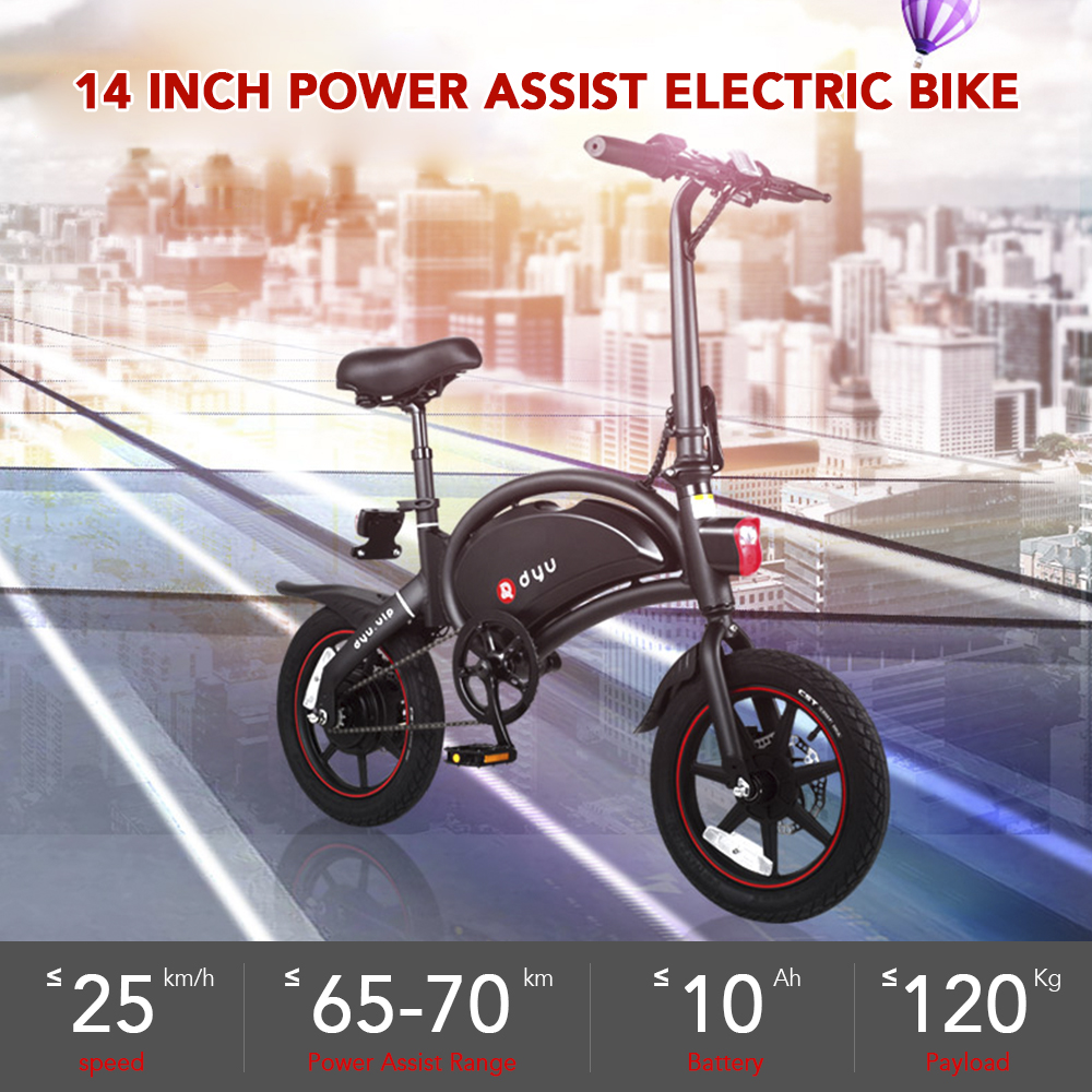 14 Inch Folding Power Assist Electric Bicycle Moped E-bike 65-70km Max Range