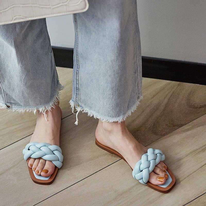 ใหม่ล่าสุดผู้หญิงสไลด์สแควร์สานแบนรองเท้าแตะยี่ห้อ Designer กลางแจ้งฤดูร้อนรองเท้าแตะผู้หญิงรองเท้าแตะชายหาด