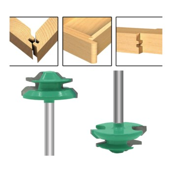 цена на 1/4 Shank Green 45 Degree Lock Miter Router Bit Wood Cutter For Woodworking Drilling Power Tools router fresas para madera