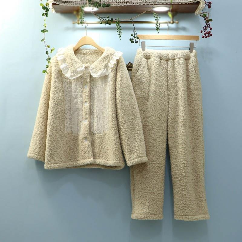 Nouvelle mode femmes nuit costumes hiver automne vêtements de nuit en flanelle ensemble col rabattu mignon épais chaud dentelle pyjamas ensemble