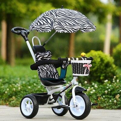 Portable en acier au carbone poussette Tricycle vélo main pousser trois roues poussette enfant vélo bébé monter sur la voiture pour 1-2-5 ans