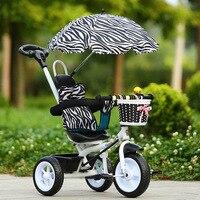Tragbare Carbon Stahl Kinderwagen Dreirad Fahrrad Hand Push Drei Räder Kinderwagen Kind Fahrrad Baby Fahrt auf Auto für 1-2-5 jahre Alt