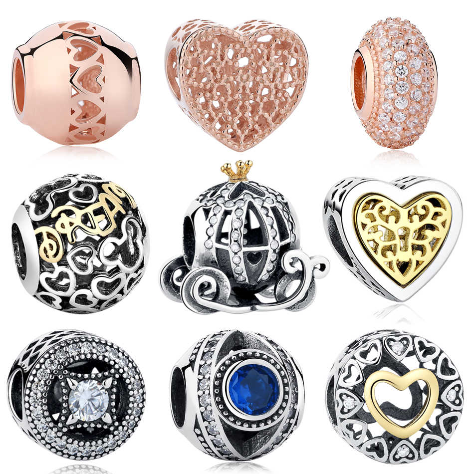 Animals Charms Heart Pendants Crystal Silver For 925 Sterling European Bracelet