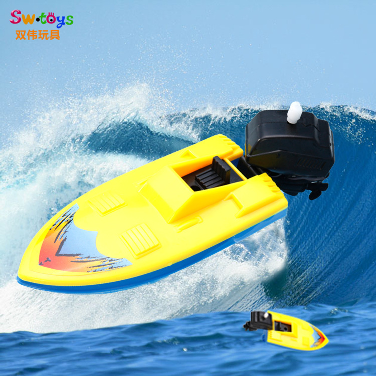 New Style Hot Selling Plastic Shang Lian Chuan Children Stall Spring Play With Water Swimming Motorboat Ship Toy
