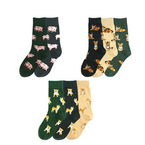 Women New Funny Print Socks Cute Cotton Animal Cat Pig Cartoon Socks Women Novelty Kawaii Long Socks Cheap High Quality