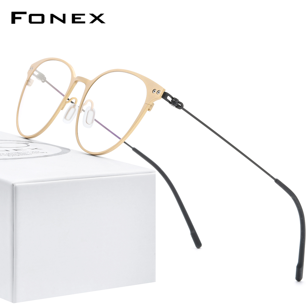 FONEX Pure Titanium Glasses Frame Women Vintage Round Myopia Optical Prescription Eyeglass Frame Men 2020 Screwless Eyewear 8533
