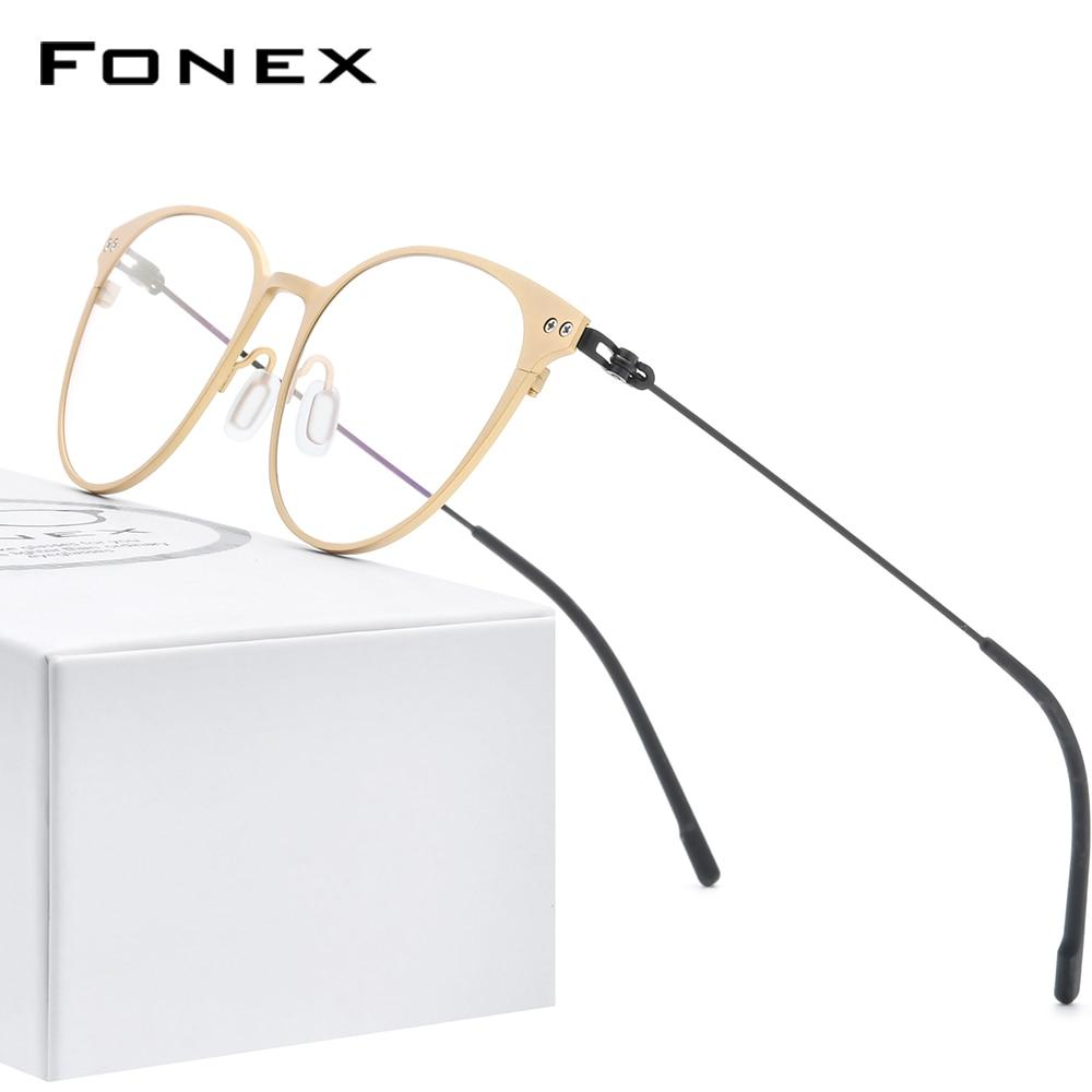 FONEX Pure Titanium Glasses Frame Women Vintage Round Myopia Optical Prescription Eyeglass Frame Men 2020 Screwless Eyewear 8533